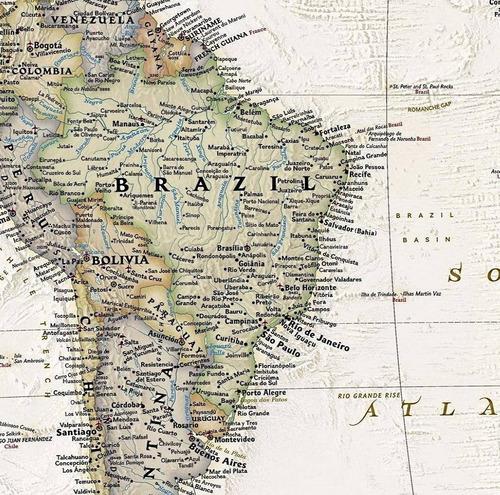 mapa mundi político econ. decorativo 65x100cm para emoldurar