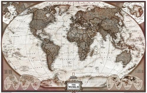 mapa mundi político vintage 65x100cm enfeite para sala