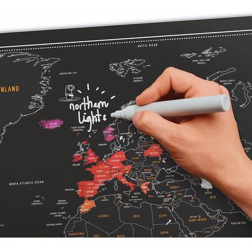 mapa mundi raspa scratch pared planisferio negro capitales regalo original