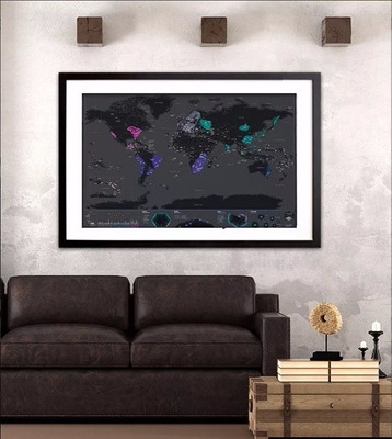 mapa mundi raspa scratch vinilo planisferio negro capitales