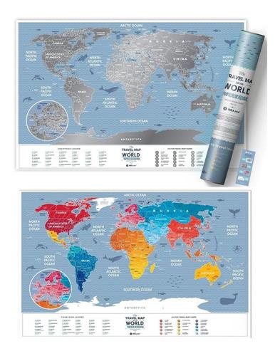 mapa mundi raspar viagens - mapa de raspadinha - color 60x40