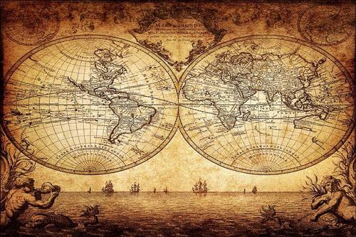 mapa mundial antigo 65x100cm medieval vintage envelhecido