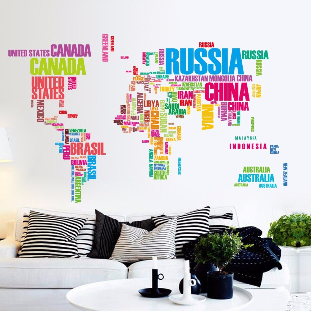 Mapa mundial letras color vinil sticker mapamundi pared - Mapamundi pared ikea ...