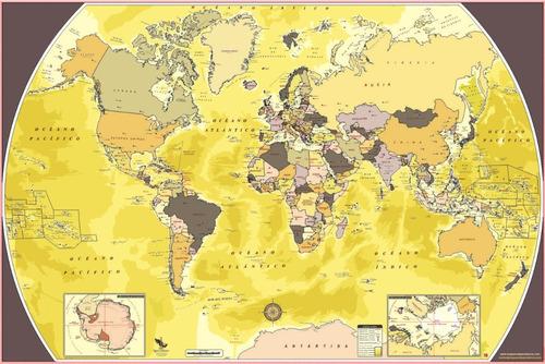 mapa mundial sepia mural del mundo decorativo planisferio