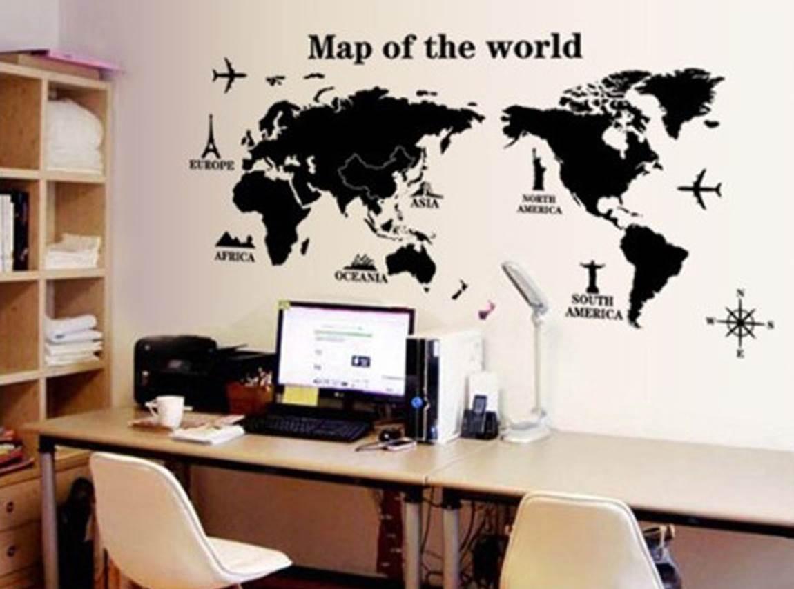 Mapa mundial vinilo decorativo poster mapamundi viajeros - Posters grandes para pared ...