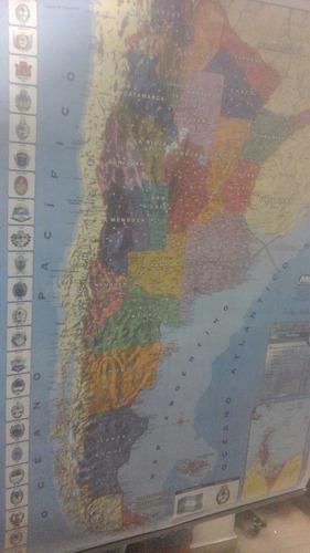 mapa mural argentina 95 x 130 politico - fisico doble faz