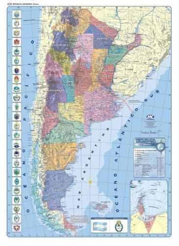 Mapa Mural Argentina Simple Faz Político Con Rutas En - Argentina mapa