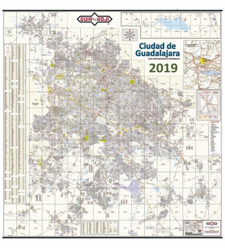 mapa mural  guadalajara plastificado 2019  guia roji