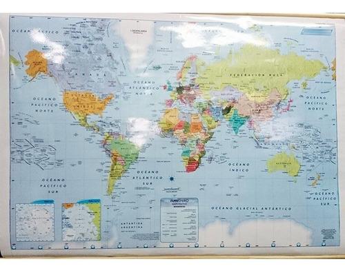 mapa mural planisferio fisico politico doble faz laminado