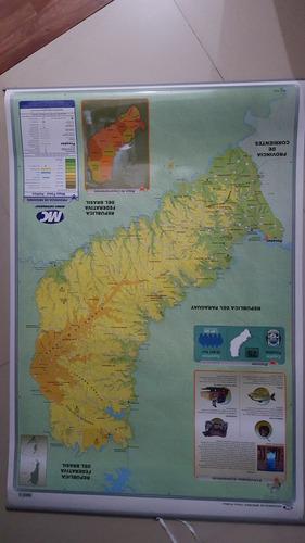 mapa mural provincia de misiones - físico/político