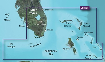 mapa náutico garmin bluechart g2 vision hd sur de la florida
