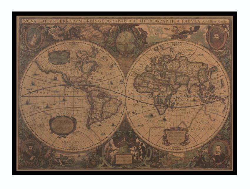 Mapa Nautico Oceano Geo 76x55.5 Cm Vintage Retro Enmarcado ...
