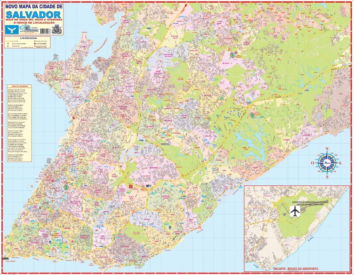 Mapa Parcial Cidade De Salvador Ba 120cm X 90cm Gigante R 14