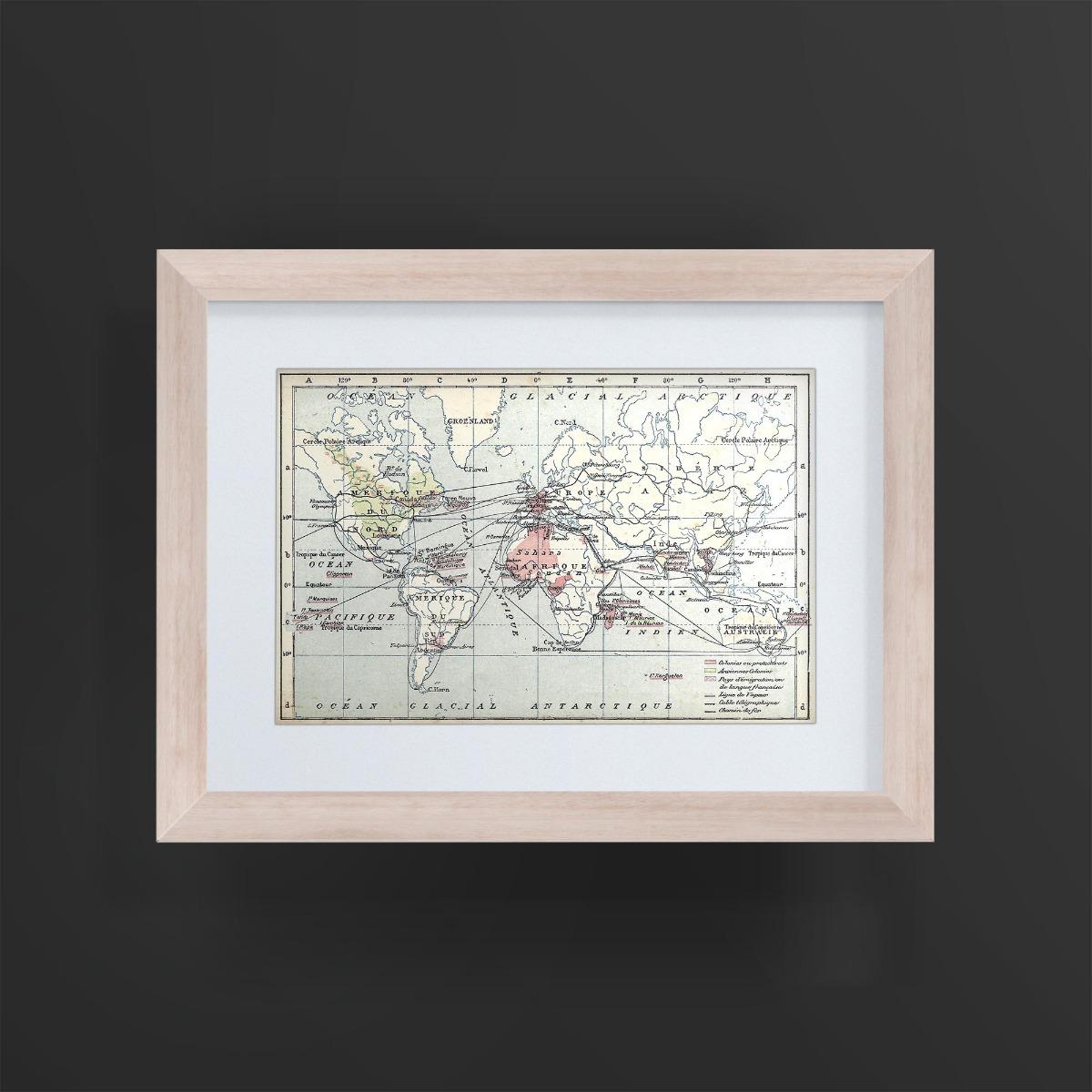 Mapa Planisferio Colonias Francesas Marco Madera 17x23 1891 - $ 450 ...