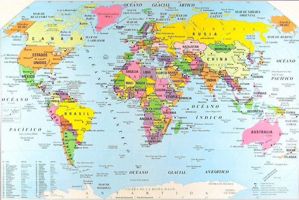 Mapa Planisferio N 6 Poltico Color 35 Cm X 50 Cm   665 en