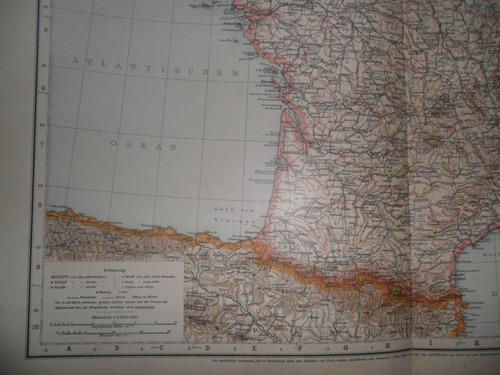 mapa plano 1893 frankreich francia paris corsica vizcaya