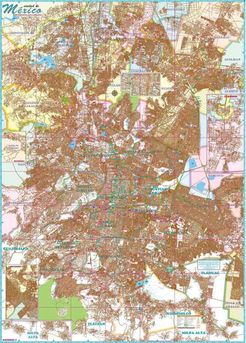 mapa plano ciudad de méxico d.f. cdmx  mural 2018 cartulina