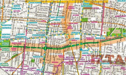 mapa plano ciudad de méxico d.f. cdmx  mural cartulina
