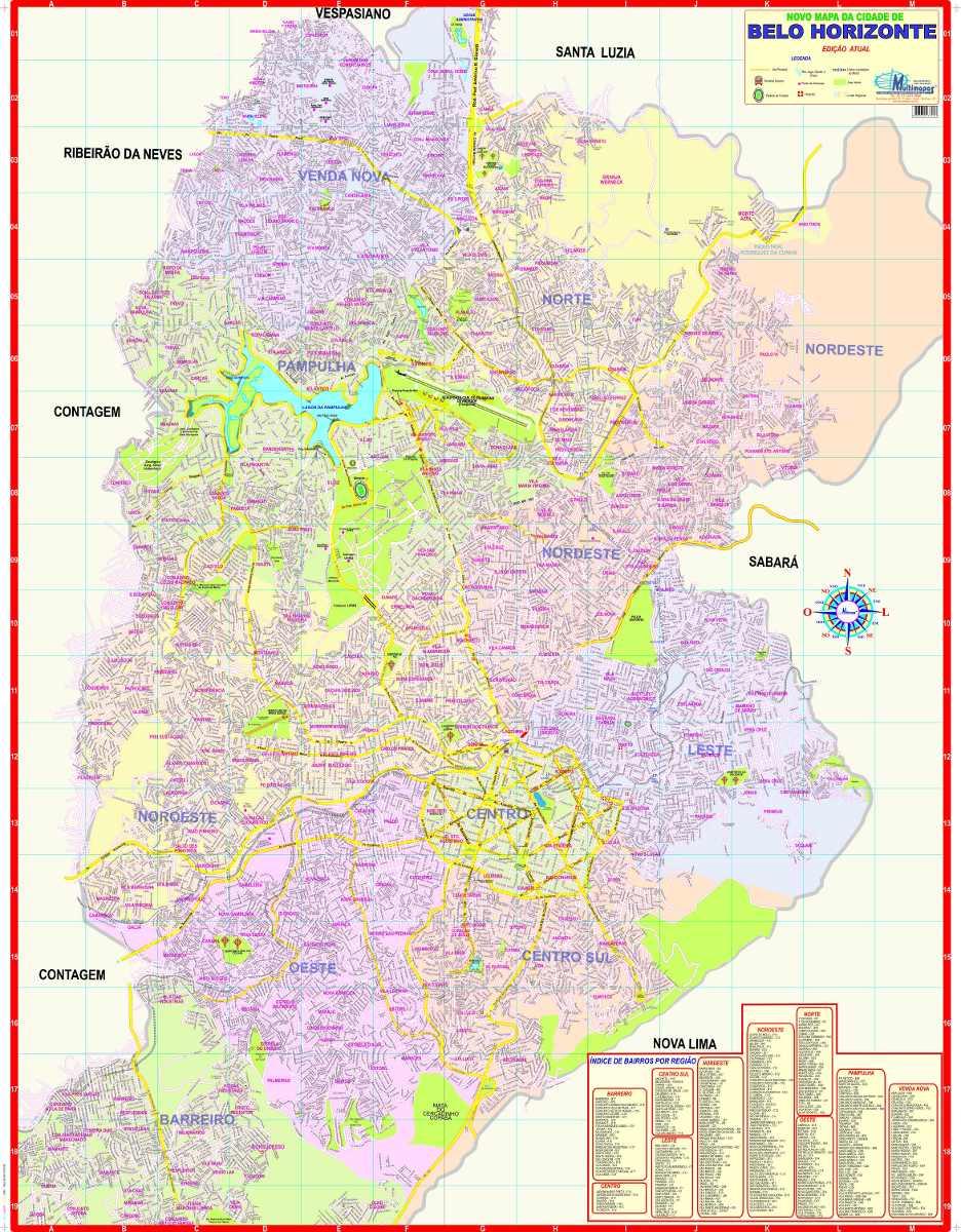 Mapa Poltico Gigante Municpio Cidade De Belo Horizonte R 11