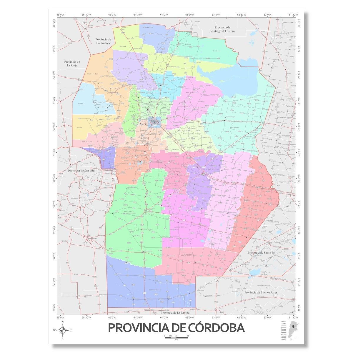 Mapa Provincia De Cordoba Politico.Mapa Politico Provincia De Cordoba 80cmx61cm