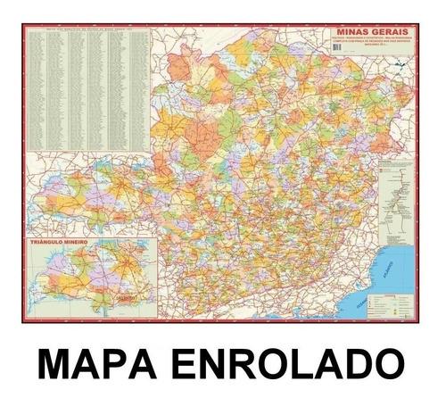 mapa político rodoviário estado de minas gerais - enrolado