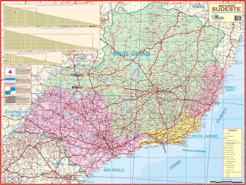 Mapa Poltico Rodovirio Gigante Da Regio Sudeste Do Brasil  R