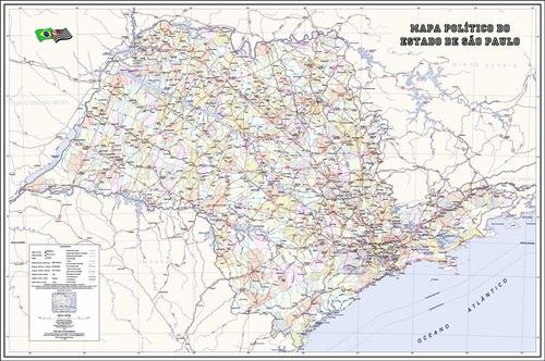 mapa político sp 65x100cm são paulo poster hd