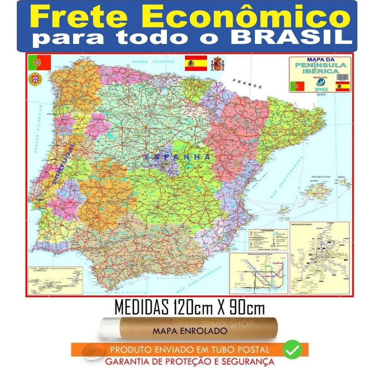 Mapa Portugal Espanha Iberica 120x90cm Enrolado Frete R 20 R