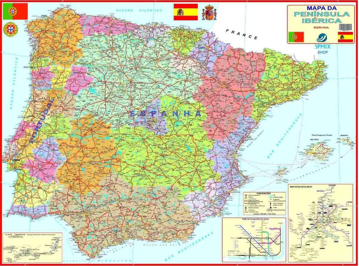 mapa das estradas de portugal e espanha Mapa Portugal Espanha Peninsula Iberica 120cm Enrolado   R$ 19,99  mapa das estradas de portugal e espanha