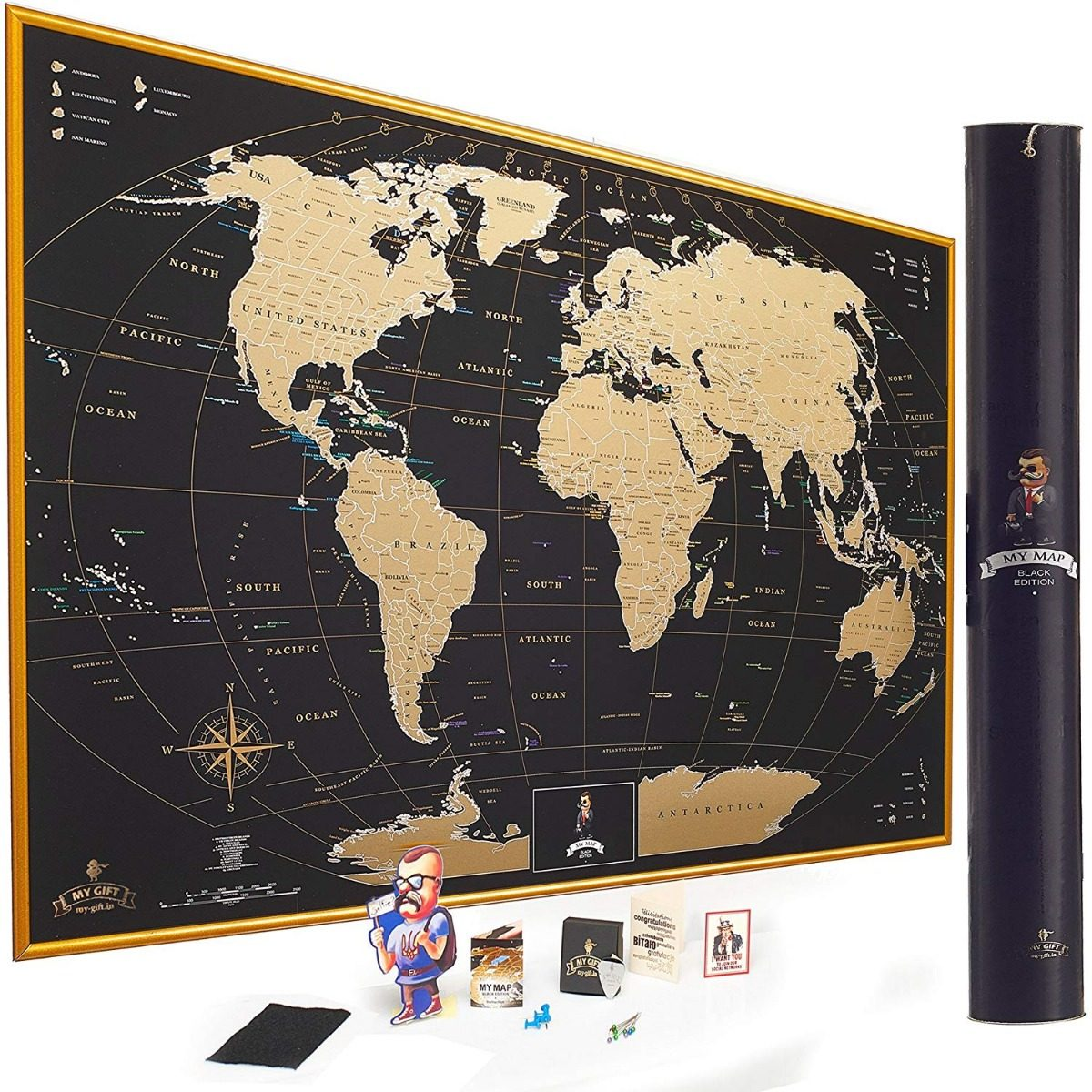 Mapa Rascable Del Mundo Gigante Accesorios 81 X 63 Cm