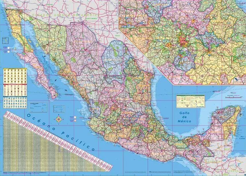 Mapa República Méxicana Mural Mexico Carreteras 32823 En