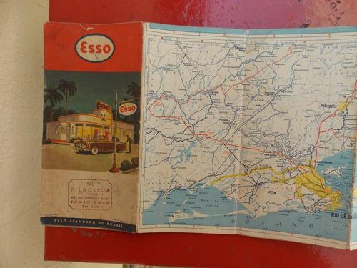 mapa rodoviário antigo do rio de janeiro de 1954 - esso