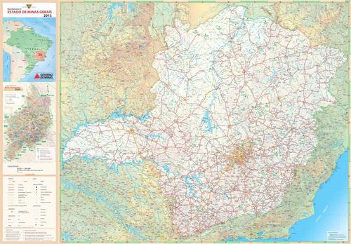 mapa rodoviário minas gerais hd 65x100cm decoração parede mg