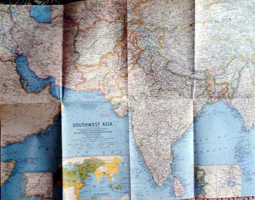 mapa sothwest asia nat geo 1963 62 x 48 cm buen estado