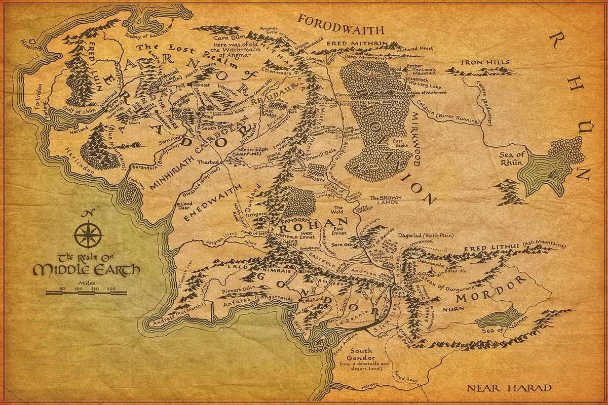 mapa senhor dos aneis Mapa Terra Media   O Senhor Dos Anéis   Poster Lona 60x90cm   R  mapa senhor dos aneis