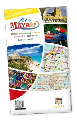 mapa turístico de la zona maya. méxico y centroamérica