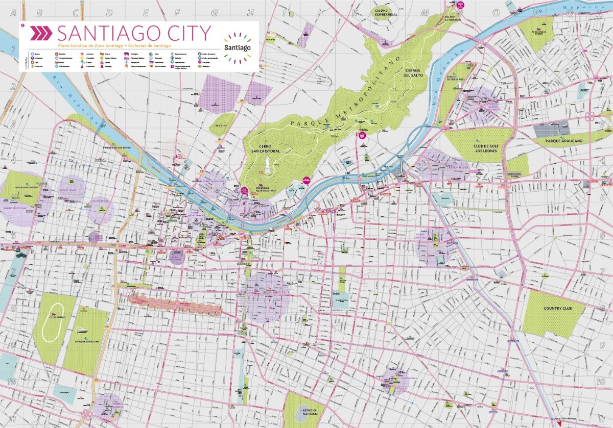 Santiago De Chile Mapa Turistico.Mapa Turistico De Santiago