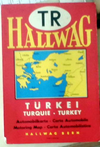 mapa turkey - hallwag berne suisse 1961 70 x 41 cm buen esta
