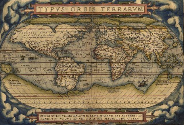 Mapamundi Antiguo De 33 X 48 Cm  Laminas En Bastidor    39999