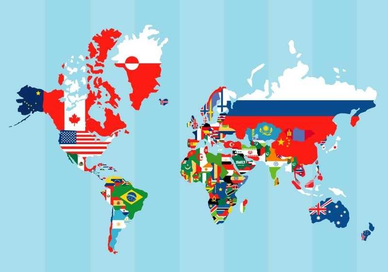 Mapamundi con banderas mapa del mundo tama o 45 x 30 cm for Mapa del mundo decoracion
