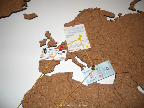 mapamundi de corcho 105x55cm en bastidor ideal regalo