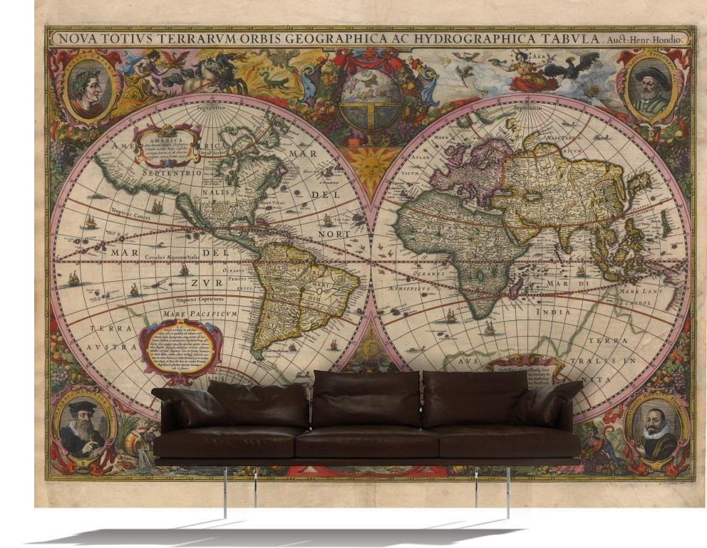 Mapamundi Gigante Mapa Mundo Lienzo Cuerina Vinilo Decorativ ...