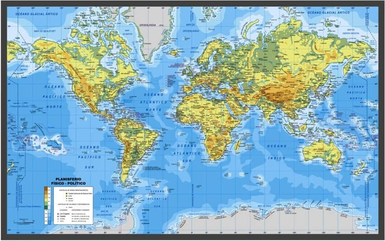 Mapa Físico Del Mundo.Mapamundi Mapa Mundo Fisico Politico Lienzo 135x84cm Oferta