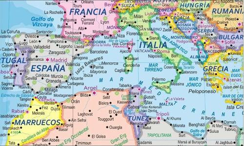 mapamundi mural del mundo mapa mundial con barilla 1.8x1.25m