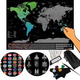 Mapamundi Para Raspar Mapa Premium Poster + Kit Para Raspar