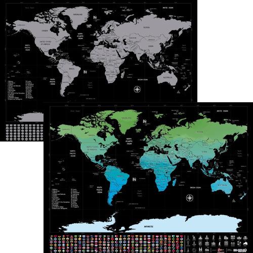 mapamundi para raspar premium scratch mapa + kit para raspar