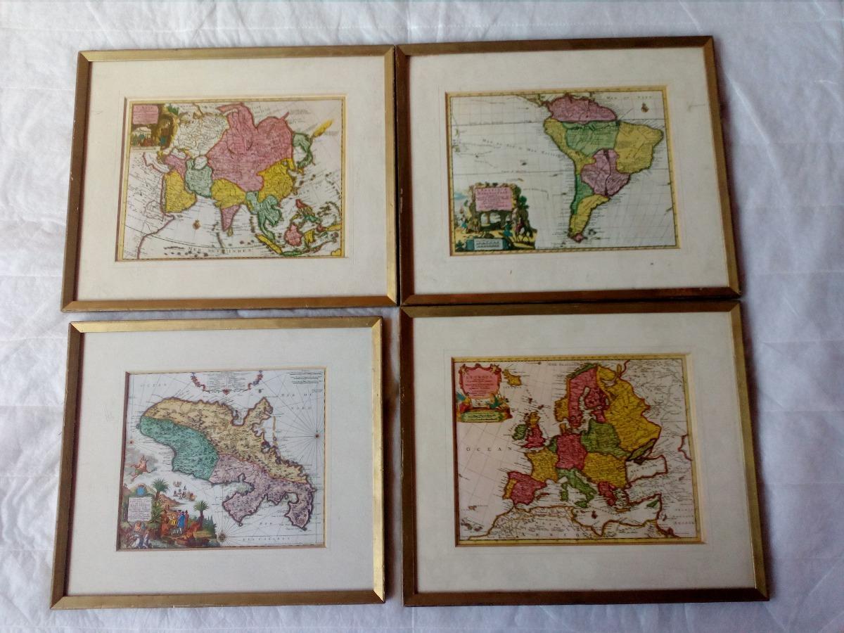 Mapas Antiguos Enmarcados Como 4 Cuadros - S/ 170,00 en Mercado Libre