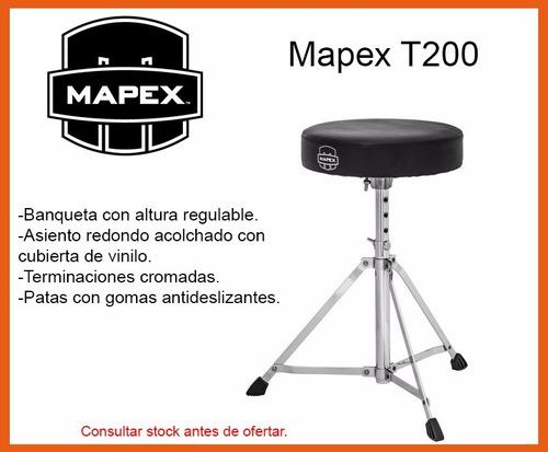 mapex banqueta para bateria t-200 asiento redondo