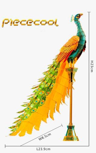 maqueta 3d metálica piececool  peacock p102-ngb para armar