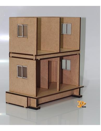 maquete casa sobrado em corte 1:25